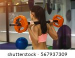 attractive fit woman in gym...   Shutterstock . vector #567937309