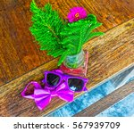 sunglasses and bow tie on a... | Shutterstock . vector #567939709