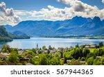 aerial view on wolfgangsee lake ...   Shutterstock . vector #567944365