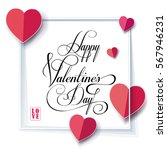 happy valentines day greeting... | Shutterstock .eps vector #567946231