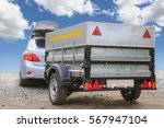 car with trailer road sky... | Shutterstock . vector #567947104