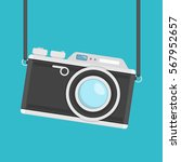 retro camera in flat style on a ... | Shutterstock .eps vector #567952657