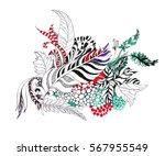 feathers  leaves and berries... | Shutterstock . vector #567955549
