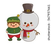 happy merry christmas snowman... | Shutterstock .eps vector #567957661