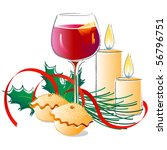 mulled wine and mince pies | Shutterstock . vector #56796751