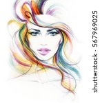 abstract woman face. fashion... | Shutterstock . vector #567969025
