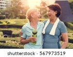 senior adult friendship... | Shutterstock . vector #567973519