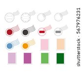 set of postage stamps. | Shutterstock .eps vector #567976231