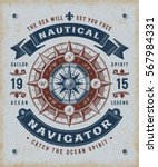 vintage nautical navigator... | Shutterstock .eps vector #567984331
