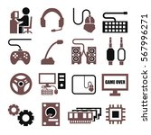 gamer  gaming gear icon set | Shutterstock .eps vector #567996271