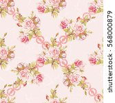 seamless floral pattern with... | Shutterstock .eps vector #568000879