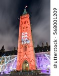 Small photo of Ottawa, Canada - November 24 2016: Winter holiday light show projected at night on the Canadian House of Parliament to celebrate the 150th Anniversary of Confederation of Canada in Ottawa, Canada.
