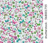 vector flower pattern. colorful ... | Shutterstock .eps vector #568001755