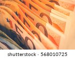 euro bills banking theme. row...   Shutterstock . vector #568010725