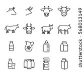 set of cow and milk icons in... | Shutterstock .eps vector #568013149