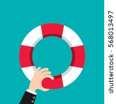 businessman hand holding... | Shutterstock .eps vector #568013497