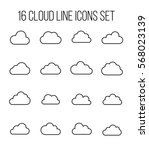 set of cloud icons in modern... | Shutterstock .eps vector #568023139