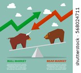 bull and bear on balance scale... | Shutterstock .eps vector #568024711