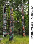 totem poles in stanley park in... | Shutterstock . vector #56802664