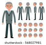 male old businessman character... | Shutterstock .eps vector #568027981