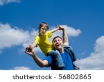 happy father with his son on a... | Shutterstock . vector #56802865