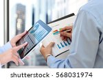 business colleagues working and ... | Shutterstock . vector #568031974