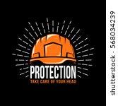logo with a working helmet ... | Shutterstock .eps vector #568034239