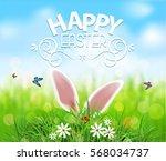 vector background for easter.... | Shutterstock .eps vector #568034737