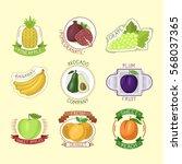 vector fruits badges. | Shutterstock .eps vector #568037365