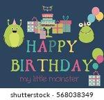 monster birthday party... | Shutterstock .eps vector #568038349