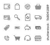 set of e commerce icons in... | Shutterstock .eps vector #568041889