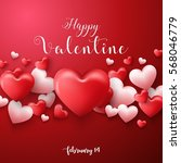 happy valentines day background ... | Shutterstock . vector #568046779