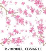 pink beautiful sakura or cherry ... | Shutterstock .eps vector #568053754