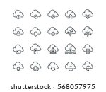 Cloud storage. Set of outline vector icons. Includes such as Data Synchronization, Transfer, Access and other. | Shutterstock vector #568057975