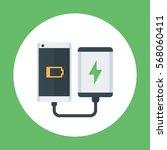 power bank charging smartphone  ... | Shutterstock .eps vector #568060411