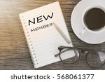 concept new member message on... | Shutterstock . vector #568061377