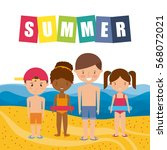 happy kids in the beach.... | Shutterstock .eps vector #568072021