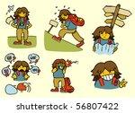 Backpacker adventures. Set of 6. - stock vector