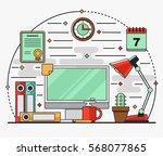 linear flat interior...   Shutterstock .eps vector #568077865
