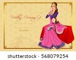 vector design of indian woman... | Shutterstock .eps vector #568079254