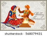 vector design of indian couple... | Shutterstock .eps vector #568079431