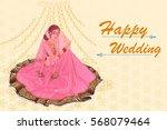 vector design of indian woman... | Shutterstock .eps vector #568079464