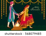 vector design of indian couple... | Shutterstock .eps vector #568079485