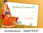 vector design of indian couple... | Shutterstock .eps vector #568079527