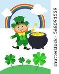 st. patrick's day   leprechaun  ... | Shutterstock .eps vector #568091539
