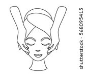 facial massage icon in outline... | Shutterstock .eps vector #568095415