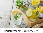 classic lemonade in glass jars  ... | Shutterstock . vector #568097074