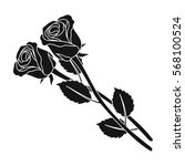 Two Roses Icon In Black Style...