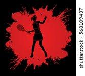 woman tennis player action... | Shutterstock .eps vector #568109437