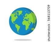 earth globe isolated on white... | Shutterstock .eps vector #568113709